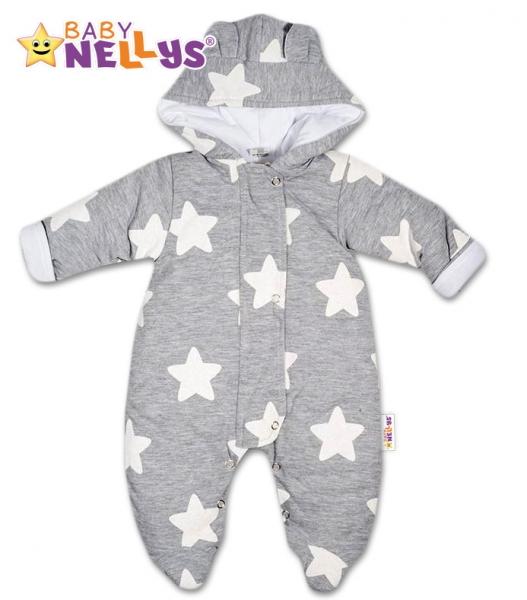 Kombinézka s kapuci a oušky STARS Baby Nellys ®, Velikost: 56 (1-2m)