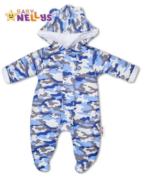 Kombinézka s kapuci a oušky ARMY Baby Nellys ® maskač blue, Velikost: 56 (1-2m)
