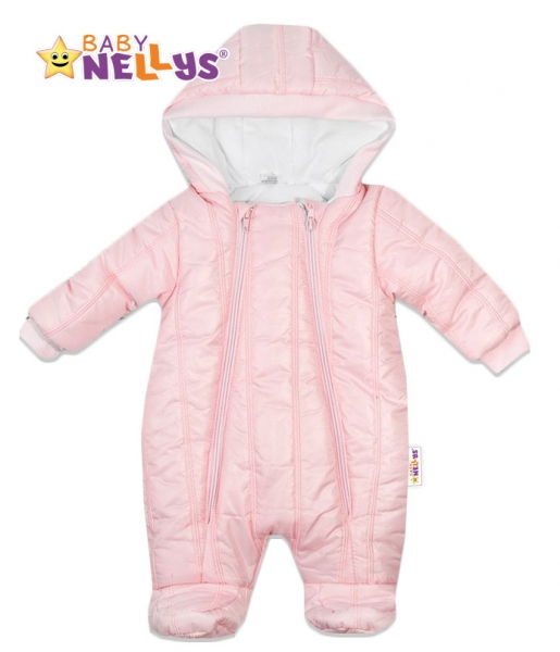 Kombinézka s kapuci LUX Baby Nellys ®prošívaná - sv. růžová, Velikost: 62 (2-3m)