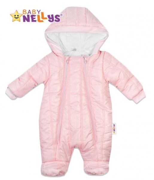 Kombinézka s kapuci LUX Baby Nellys ®prošívaná - sv. růžová, Velikost: 68 (4-6m)