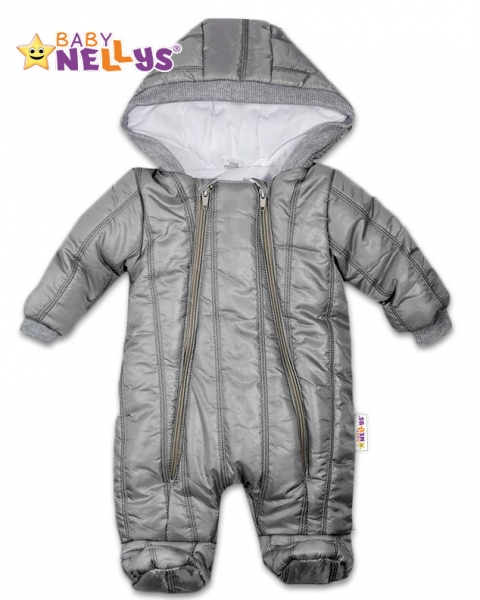 Kombinézka s kapuci LUX Baby Nellys ®prošívaná - šedá, Velikost: 56 (1-2m)