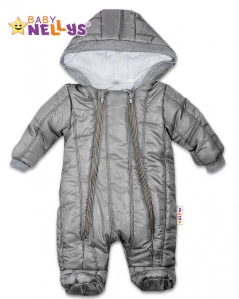 Kombinézka s kapuci LUX Baby Nellys ®prošívaná - šedá, Velikost: 68 (4-6m)