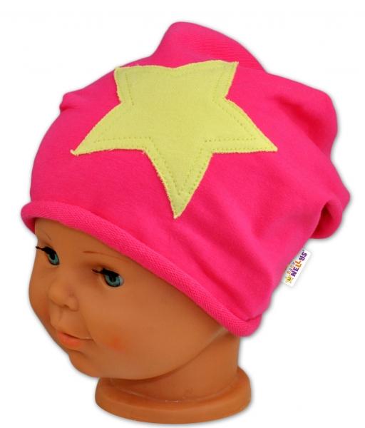 Bavlněná čepička Stars Baby Nellys ® - malinová 48-50, Velikost: 48/50 čepičky obvod