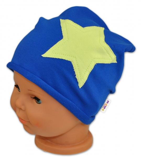 Bavlněná čepička Stars Baby Nellys ® - tm. modrá, Velikost: 44/48 čepičky obvod