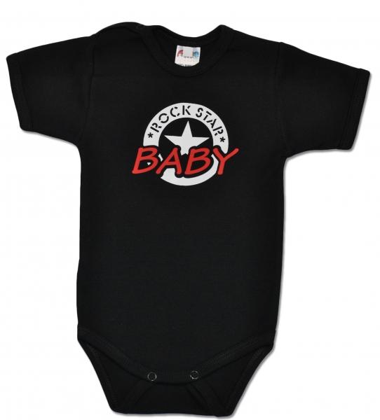 Baby Dejna Body ROCK STAR BABY krátký rukáv - černé, vel. 80vel. 80 (9-12m)