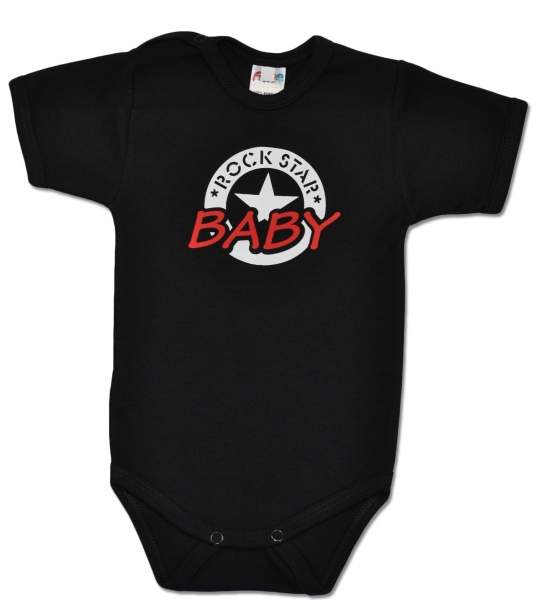 Baby Dejna Body ROCK STAR BABY krátký rukáv - černé, vel. 86vel. 86 (12-18m)