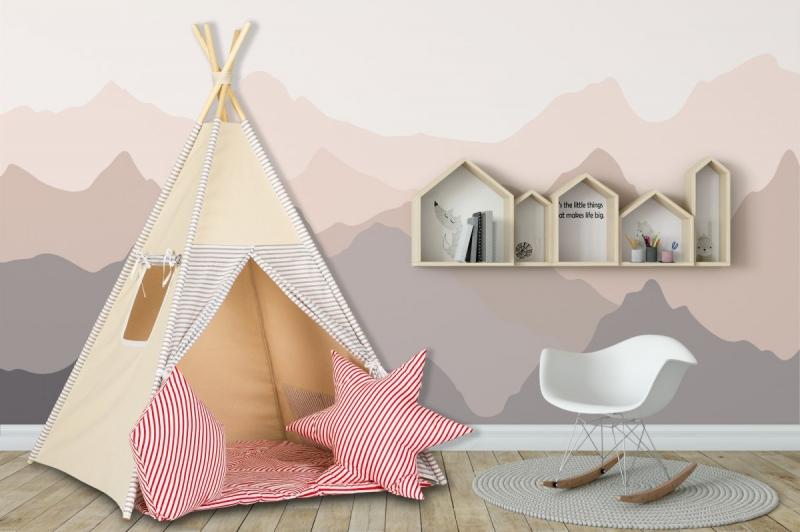 Stan pro děti teepee, týpí s výbavou - béžový /proužky