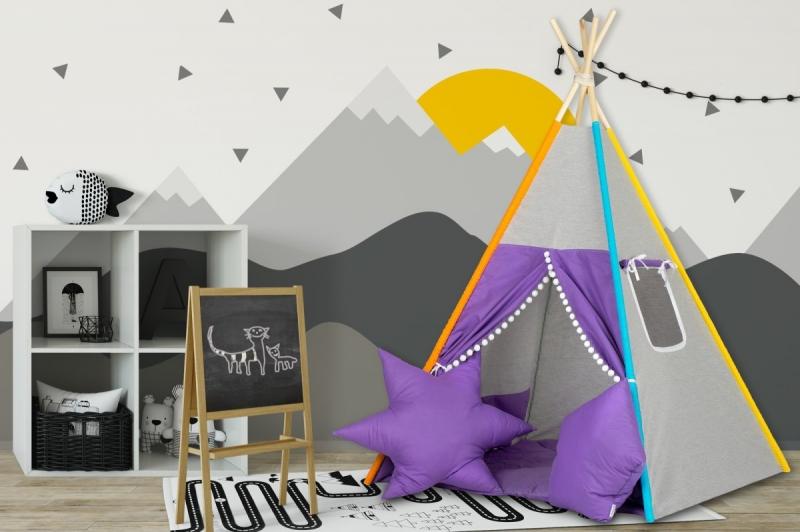 Stan pro děti teepee, týpí s výbavou - šedý / fialový bambuli