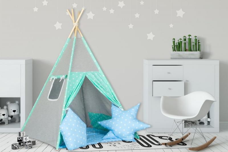 Stan pro děti teepee, týpí s výbavou - šedý / hvězdičky v modré,máta