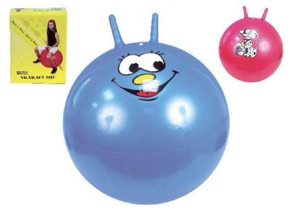 Skákací míč s úchyty 60cm 4 barvy v krabici 16x20cm