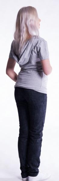 Be MaaMaa Těhotenské a kojící triko s kapucí, kr. rukáv - jeans, vel. L/XL