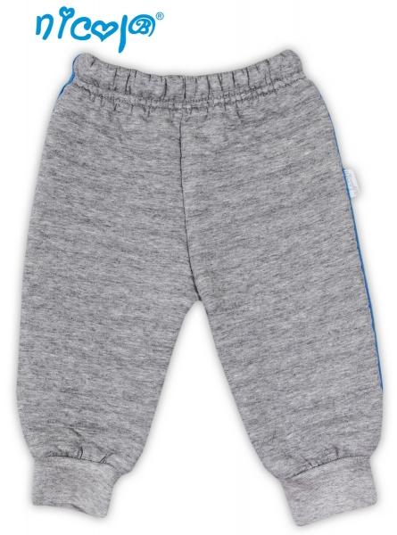Tepláčky, kalhoty NICOL TUČŇÁK - šedé - 3D pruhy, Velikost: 56 (1-2m)