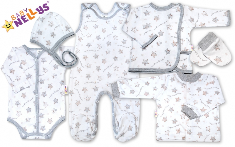 Soupravička pro předčasně narození miminka do porodnice 7D Baby Nellys ® - hvězdičky šedé