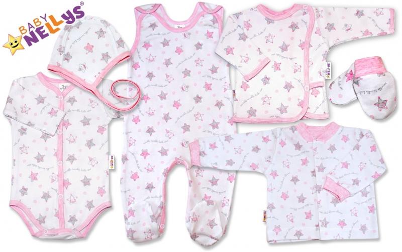 Soupravička pro předčasně narození miminka do porodnice 7D Baby Nellys - Hvězdičky růžové