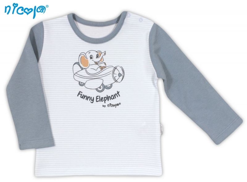Bavlněné tričko NICOL VESELÝ SLONÍK - dlouhý rukáv, Velikost: 104