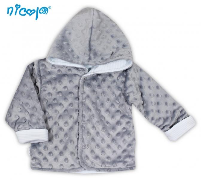 Kabátek/bundička NICOL VESELÝ SLONÍK v šedé - MINKY, Velikost: 80 (9-12m)