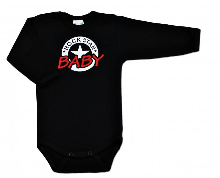 Baby Dejna Body ROCK STAR BABY dlouhý rukáv - černé, vel. 74vel. 74 (6-9m)