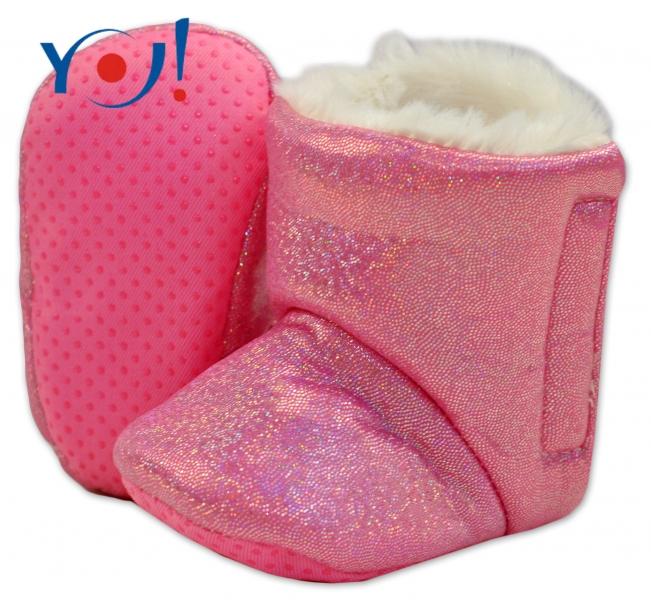 YO ! Zimní botičky/capáčky s kožíškem YO! - lesklé - růžové