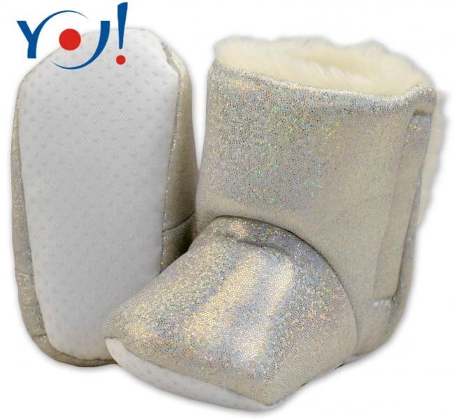 YO ! Zimní botičky/capáčky s kožíškem YO! - lesklé - bílé,stříbrné
