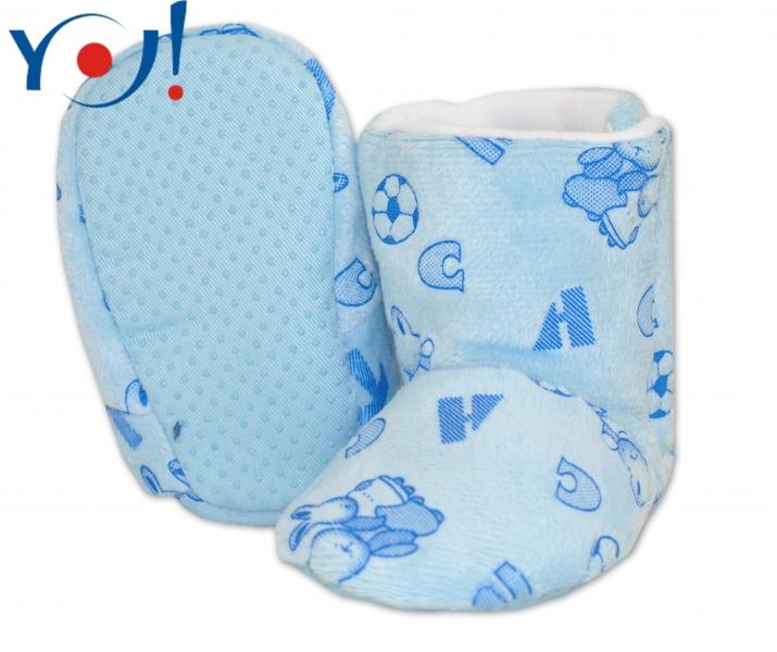 Zimní botičky/capáčky fleece YO! - sv. modré s obrázky