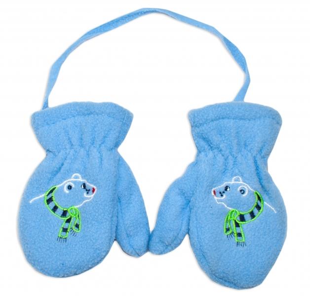 Zimní kojenecké polarové  rukavičky YO - sv. modré, Velikost: 12cm rukavičky