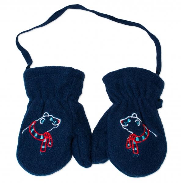 YO !  Zimní kojenecké polarové  rukavičky YO - granátové