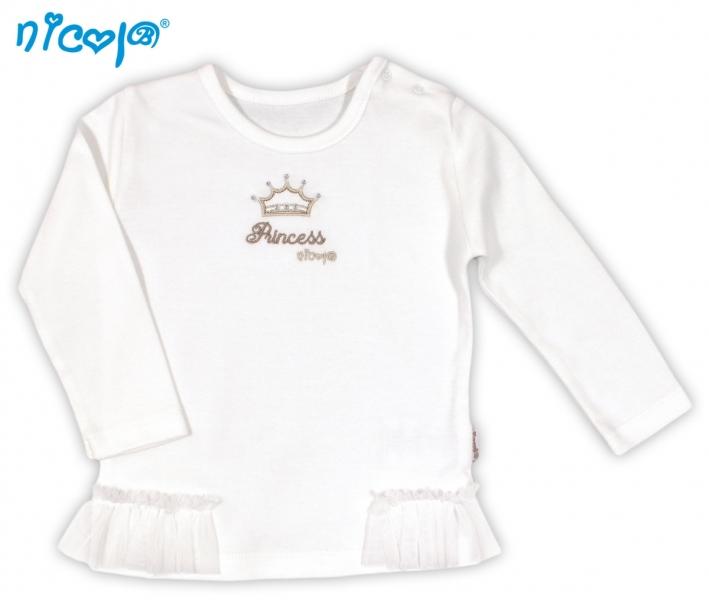 BIO kojenecké bavlněné tričko NICOL PRINCEZNA - dlouhý rukáv