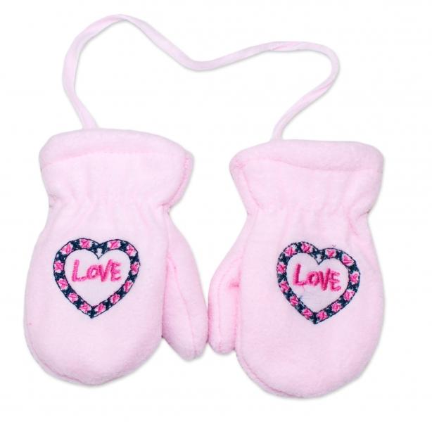 YO !  Zimní kojenecké polarové  rukavičky YO - sv. růžové, vel. 13-14 cm