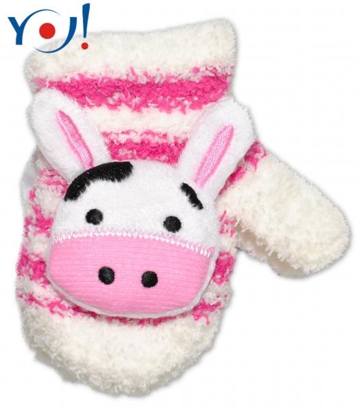 Zimní kojenecké  froté rukavičky se šňůrkou YO - bílé/malinové - kravička