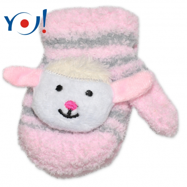 Zimní kojenecké  froté rukavičky se šňůrkou YO - sv. růžové/šedé - ovečka