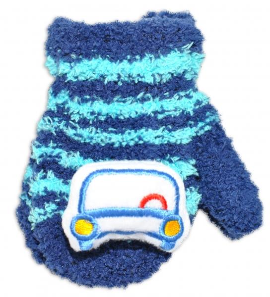 Zimní kojenecké  froté rukavičky se šňůrkou YO - granátové/tyrkysové - autíčko