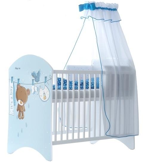 BabyBoo Dětská postýlka LUX Medvídek UŠÁČEK modrý 120x60cm, D19