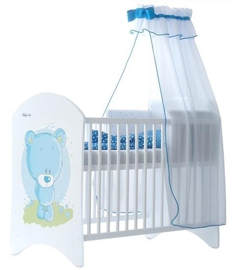 BabyBoo Dětská postýlka LUX Medvídek STYDLÍN modrý 120x60cm, D19