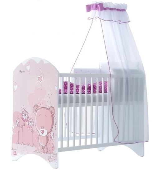 BabyBoo Dětská postýlka LUX Medvídek STYDLÍN růžový 120x60cm, D19