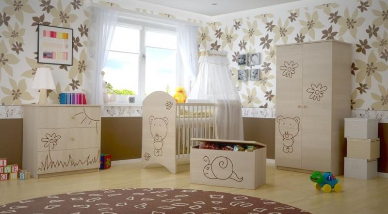 BabyBoo Dětská komoda - Medvídek květinka