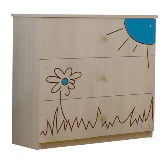 Dětská komoda - Medvídek květinka modrá