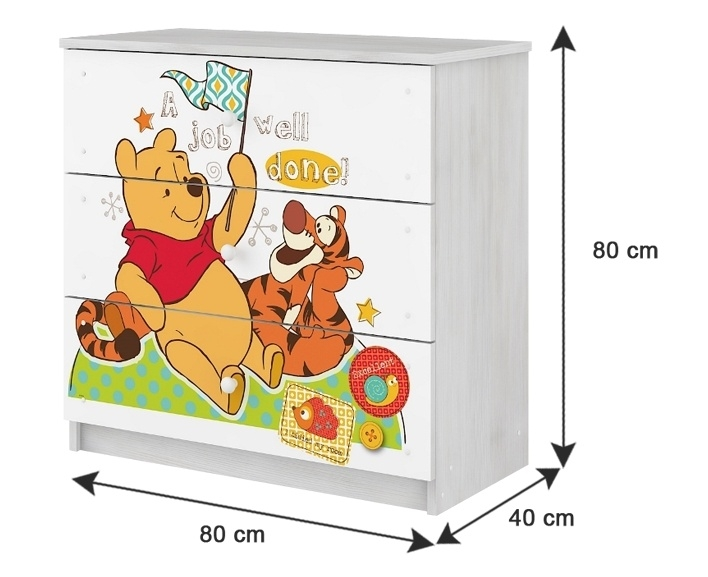 BabyBoo Dětská komoda - Medvídek květinka růžová