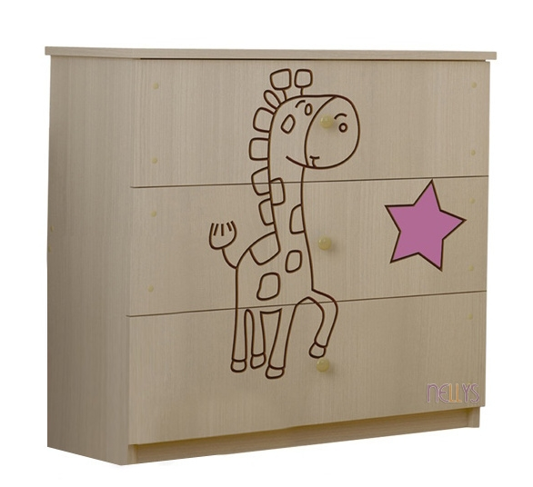 BabyBoo Dětská komoda - Žirafka růžová