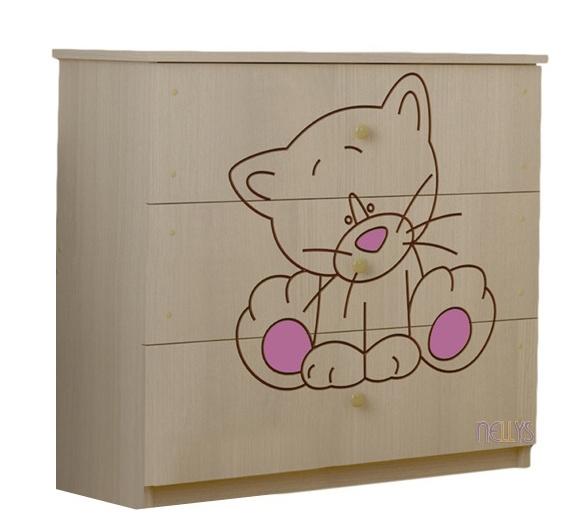 BabyBoo Dětská komoda - Kočička růžová