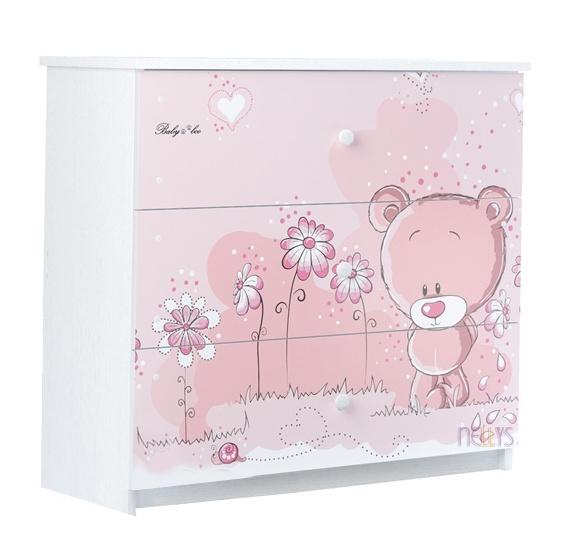 Dětská komoda - Medvídek STYDLÍN růžový, D19