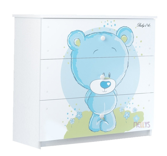 Dětská komoda - Medvídek STYDLÍN modrý