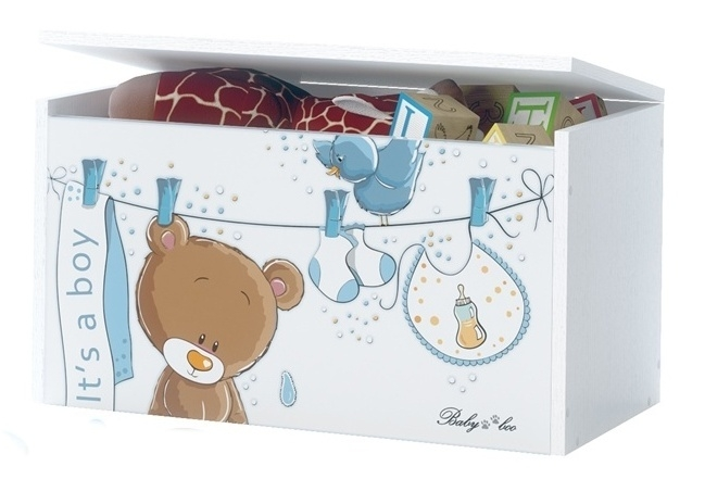 BabyBoo Box na hračky, truhla Medívek Ouško sm. modré s bílou, D19
