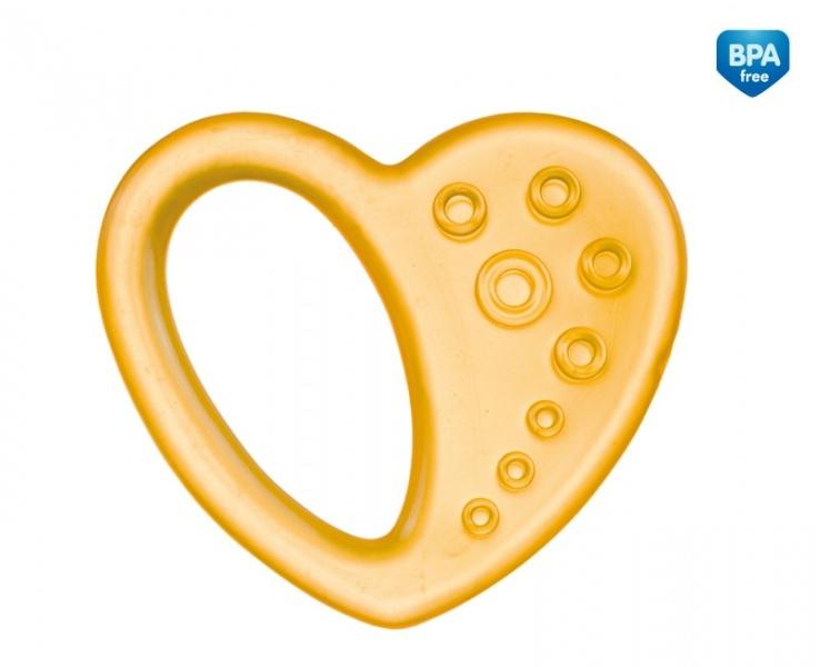 Kousátko vodní, chladící Canpol Babies - Srdíčko - žluté