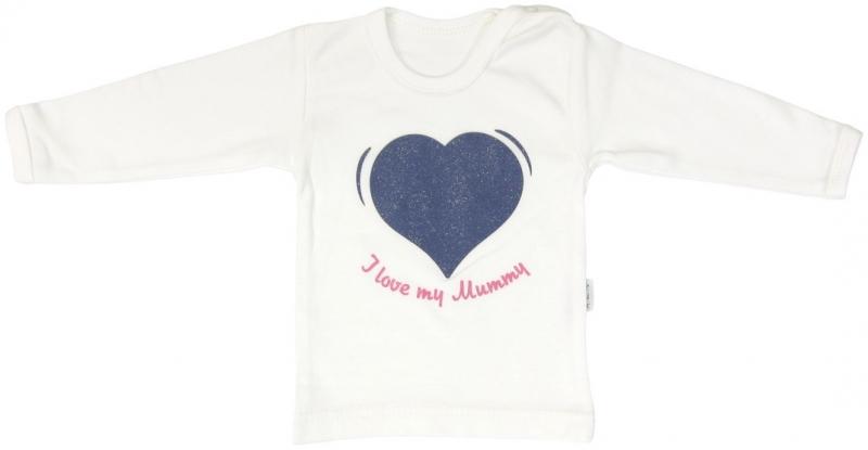 Bavlněné tričko Mamatti Srdíčko BORŮVKA - dlouhý rukáv, Velikost: 86 (12-18m)