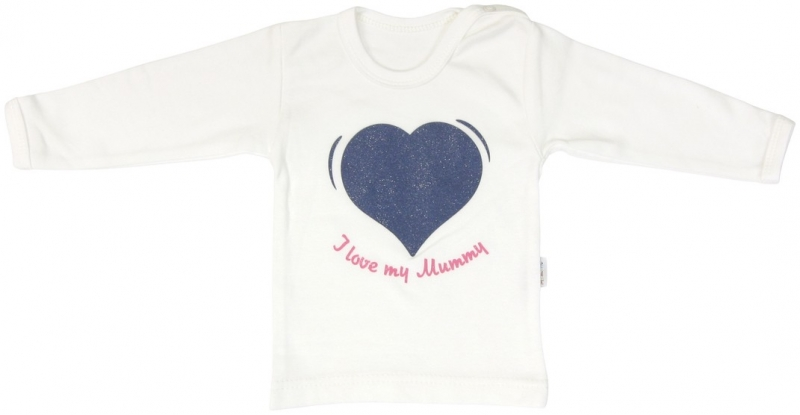 Bavlněné tričko Mamatti Srdíčko BORŮVKA - dlouhý rukáv, Velikost: 92 (18-24m)