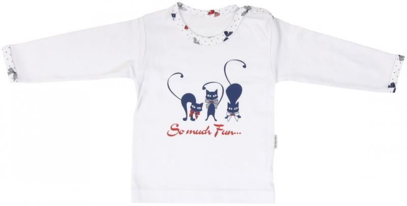 Bavlněné tričko Mamatti Kočička MAŠLIČKA - dlouhý rukáv, Velikost: 86 (12-18m)