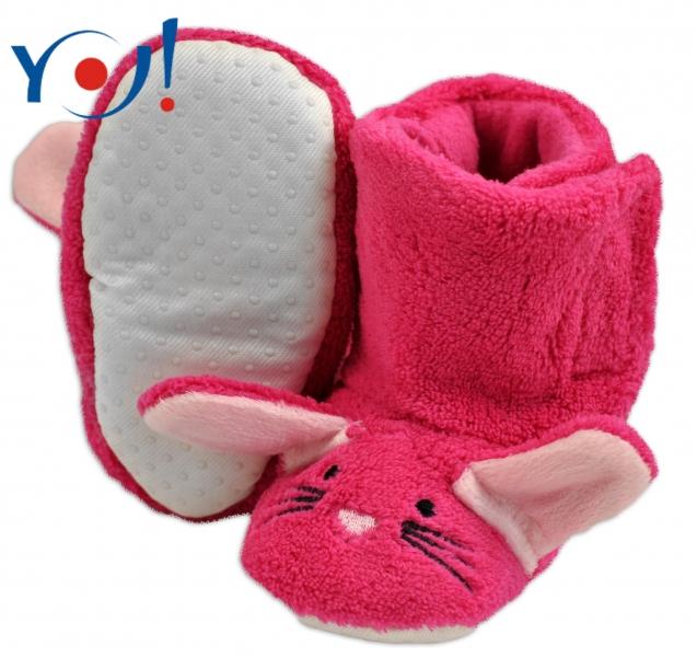 YO ! Zimní botičky/capáčky polar YO! - Králiček - malinové
