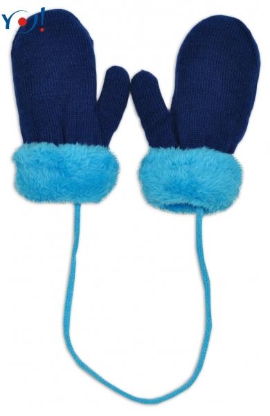 Zimní kojenecké  rukavičky s kožíškem - se šňůrkou  YO - granátové/modrý kožíšek, 12 cm