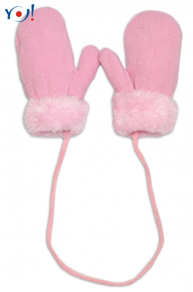 Zimní kojenecké  rukavičky s kožíškem - se šňůrkou  YO - sv. růžové/růžový kožíšek, 12cm