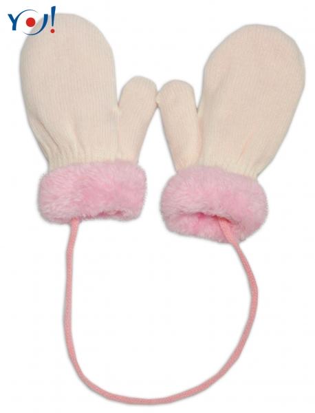 Zimní kojenecké  rukavičky s kožíškem - se šňůrkou  YO - smetanové/růžový kožíšek, 12 cm